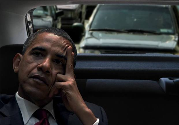 President Obama Stuck In Traffic