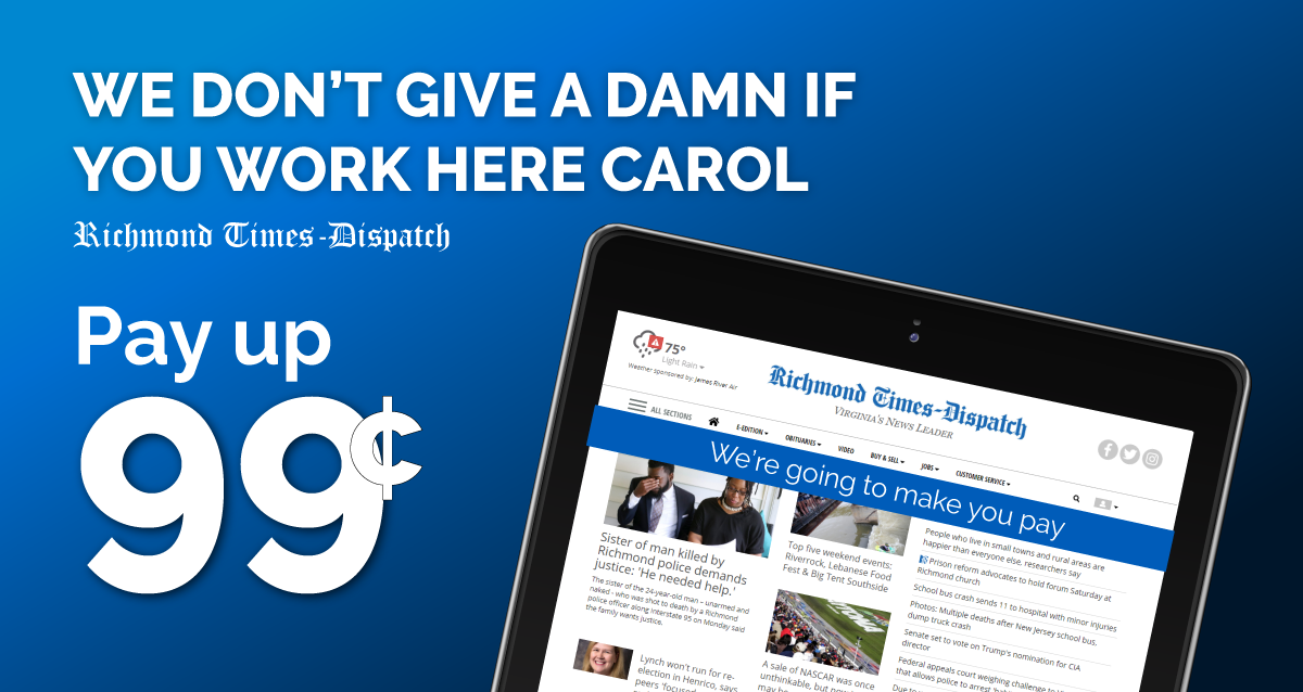 Richmond Times Dispatch Installs Paywall on Writers, They